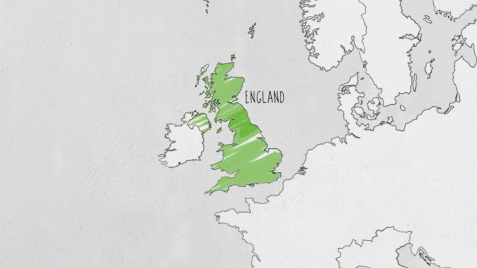A illustrated map where England is highlighted