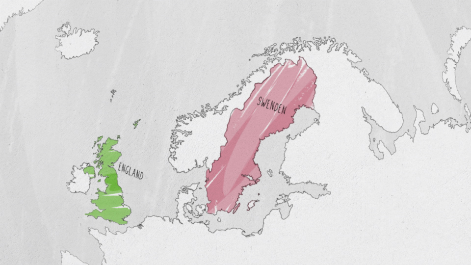 A illustrated map where England and Sweden is highlighted