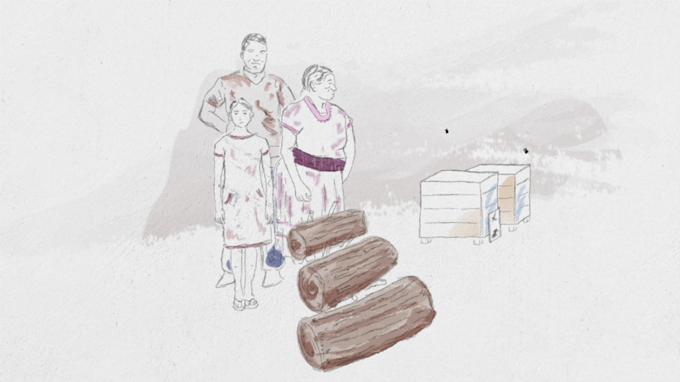 Illustration of a worried family in the honey business