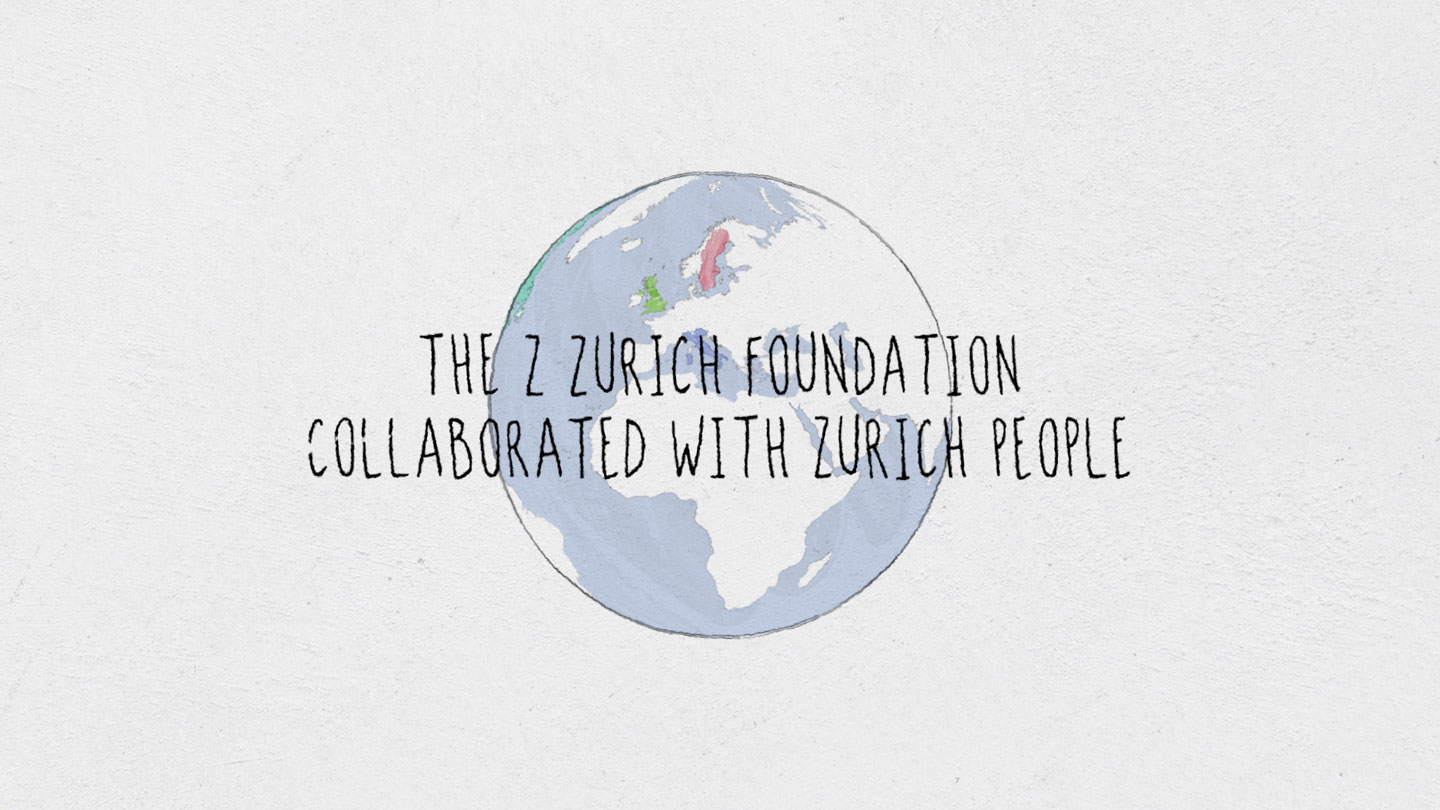 A illustrated world with some highlighted countries where Z Zurich Foundation made a impact.